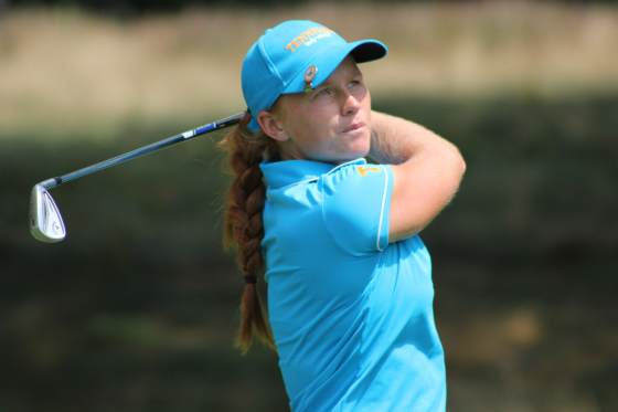 Hannah Pietila keeps an eye on her tee shot at No. 7 during play Thursday.