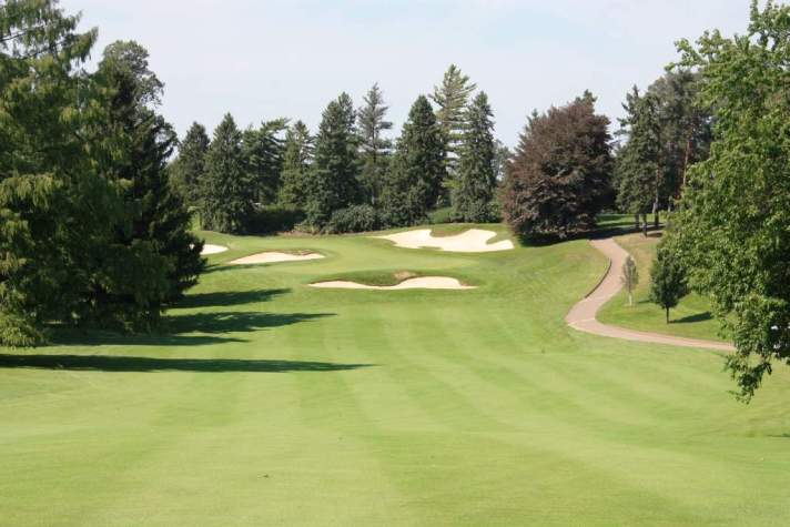 The scary green of the sixth at the University of Michigan golf course