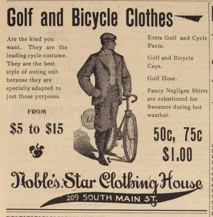 Ann Arbor Argus Golf and Bicycle Clothing Ad