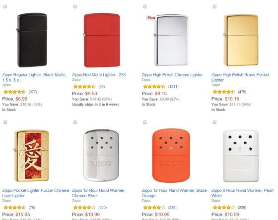 zippo products