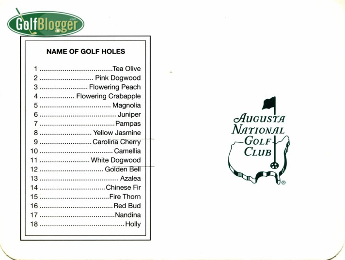 Augusta National Scorecard