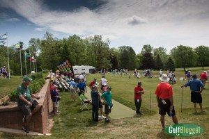 Lots of spectators on Friday at the Volvik Championship practice range.
