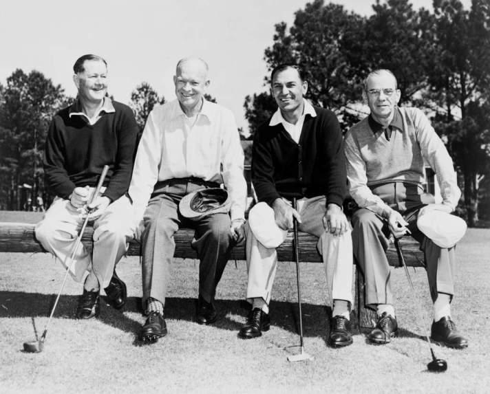 Byron Nelson, Dwight Eisenhower, Ben Hogan and Clifford Roberts, 1953. via Library of Congress