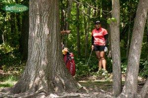 Ariya Jutanugarn plays out of the woods enroute to a bogey 6.
