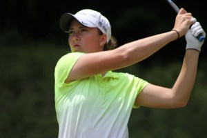 Lauren Grogan, leader after the first round of the Michigan Women's Open
