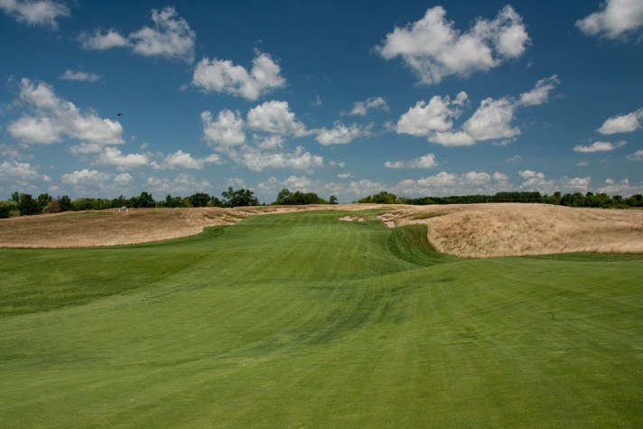 A view from the fairway on Erin Hills' tenth.