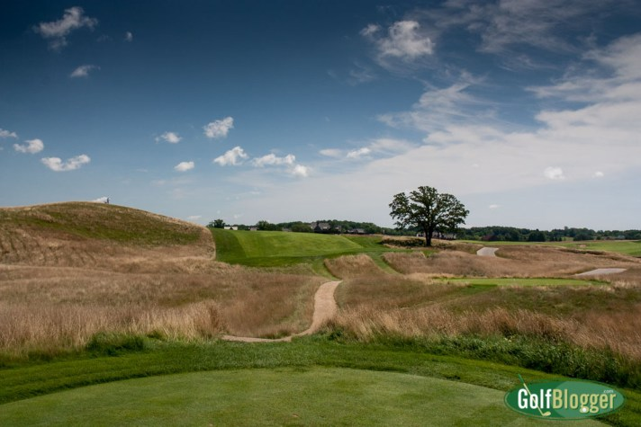 The eighth at Erin Hills is a 490 yard par 4. From the middle tees, it measures 411.