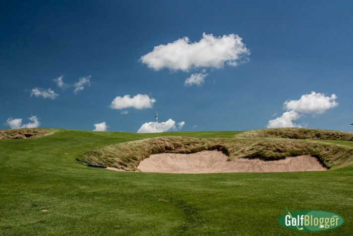 A view of a greenside bunker at Erin HIlls' eighth.