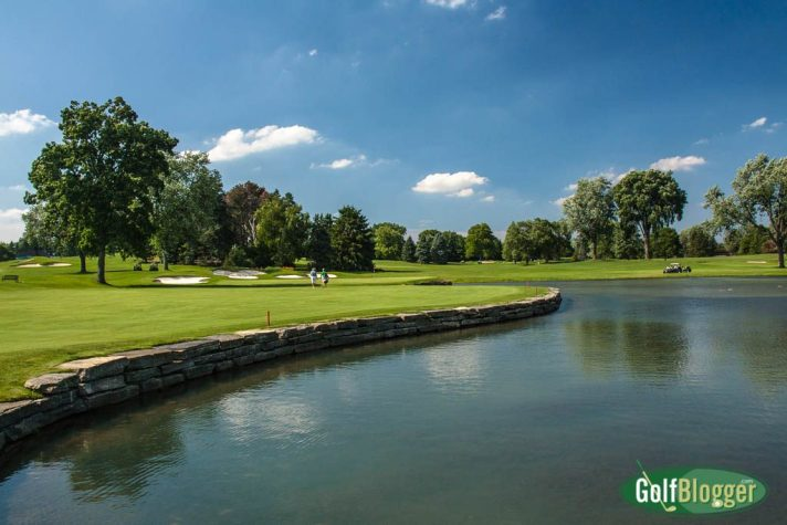 A view of the green at the sixteenth at Oakland Hills South.