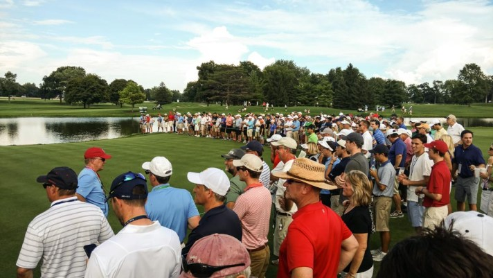 The gallery around the 16th hole at the US Amateur 2016.