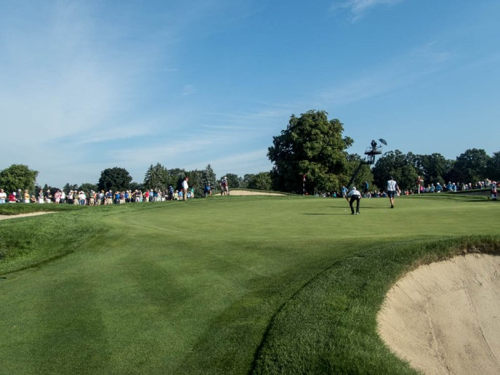 Curtis Luck evaluates a putt on the sixth hole.