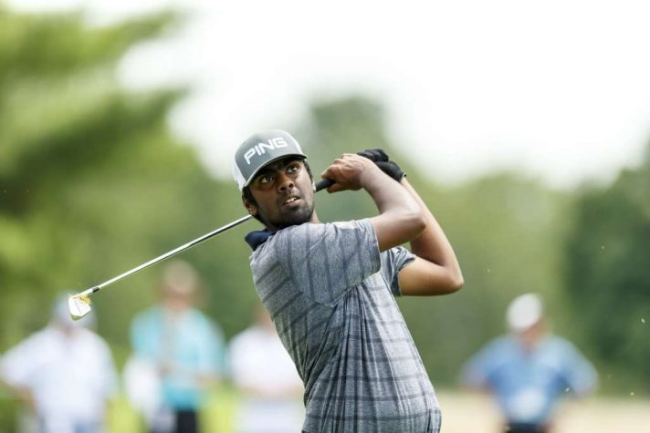 Sahith Theegala plays his tee shot on the third hole during the third round match play at the 2016 U.S. Amateur at Oakland Hills Country Club in Bloomfield Hills, Mich. on Thursday, Aug. 18, 2016. (Copyright USGA/Chris Keane)