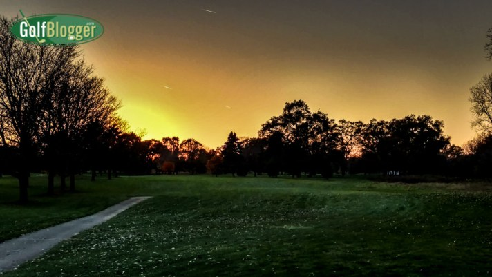Darkness descends on the seventeenth hole.
