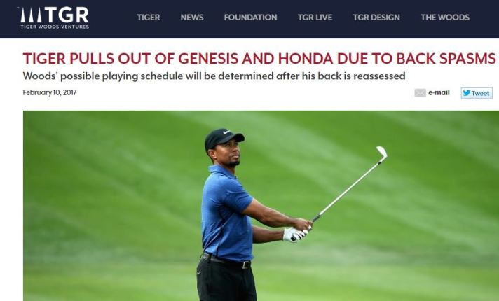 Tiger To Miss Genesis and Honda