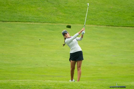 Allyson Geer hits an approach shot to the ninth green Friday at the Tullymore Classic