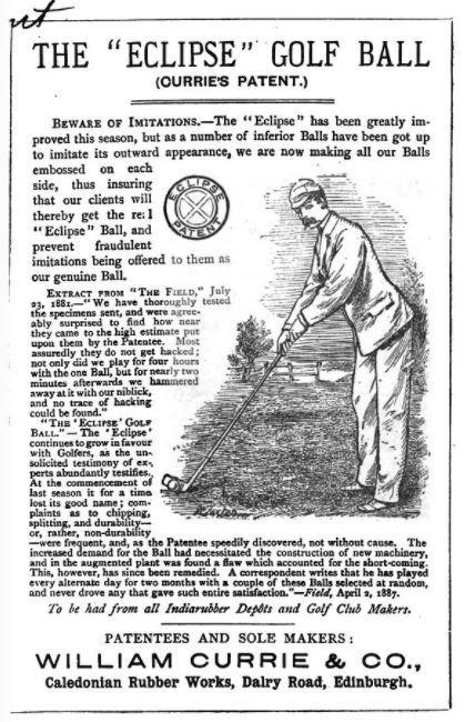 Eclipse Golf Ball Ad - 1889