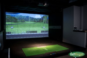 One of X-Golf Ann Arbor's simulator booths.