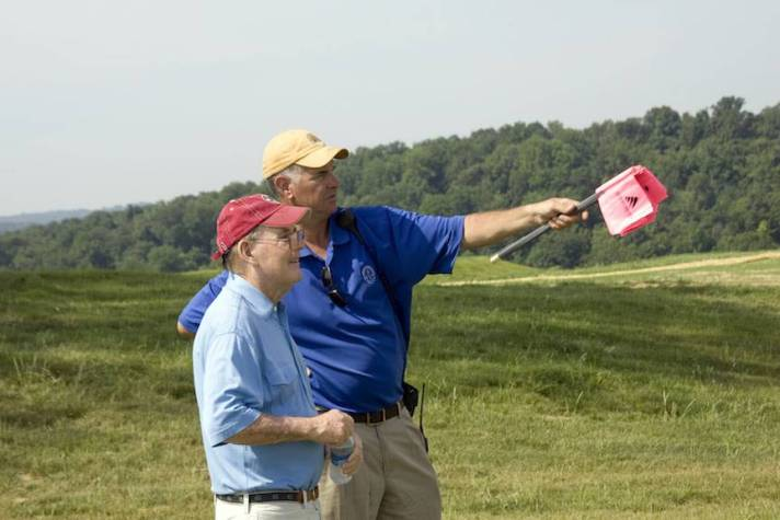 Pete Dye and Chris Lutzke, who was recently accepted into the American Society of Golf Course Architects