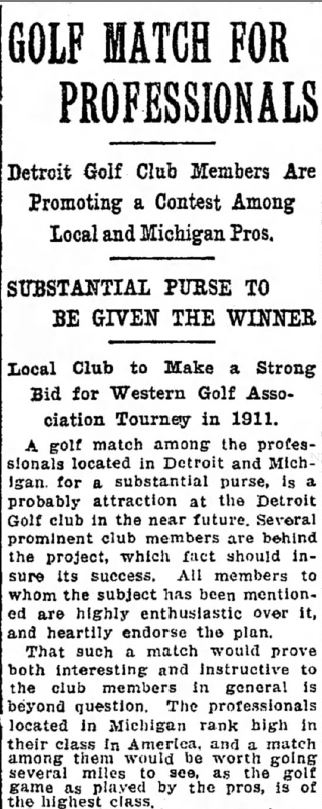 Detroit Golf Club Plans Professional Golf Tournament - in 1910