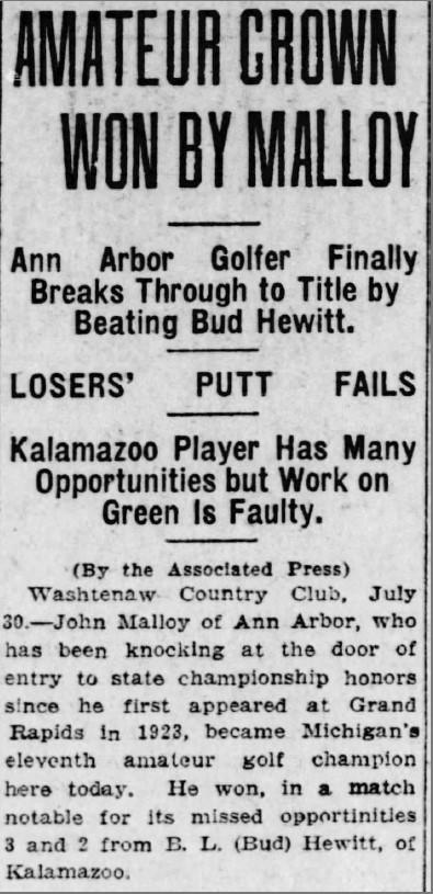 Washtenaw GC Hosts 1927 Michigan Amateur