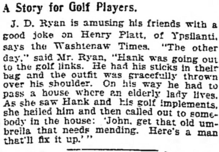 Golfer Mistaken For Umbrella Repairman In 1899