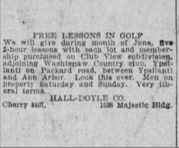 1924 Ad Offers Golf Lessons With Purchase of Club View / Washtenaw GC Lot