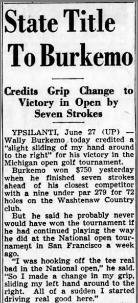 1955 Michigan Open Brought Three Major Winners To Washtenaw