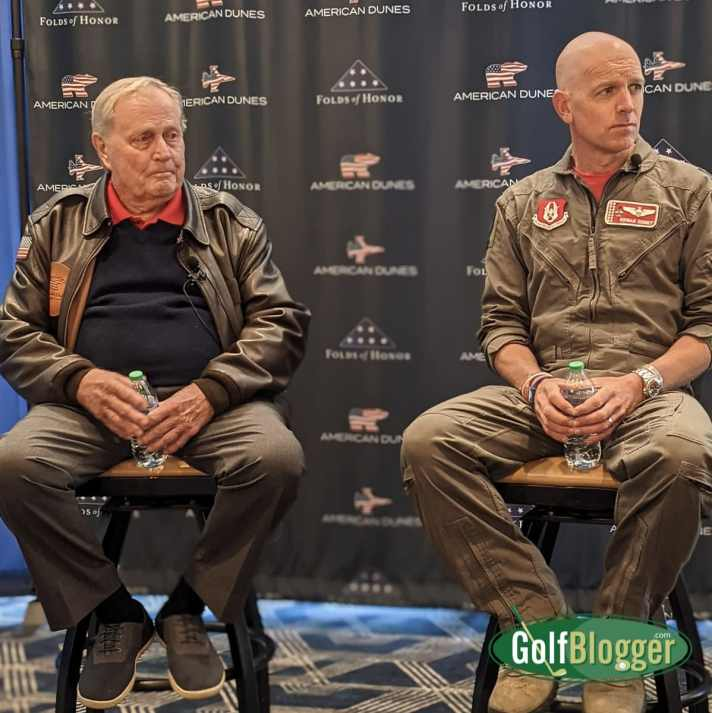 Jack Nicklaus and Lt. Colonel Dan Rooney answer media questions at the grand opening of American Dunes