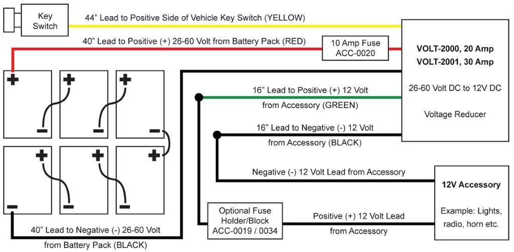 Golf Cart Voltage Reducer 26-60V To 12 Volt / 30 Amp