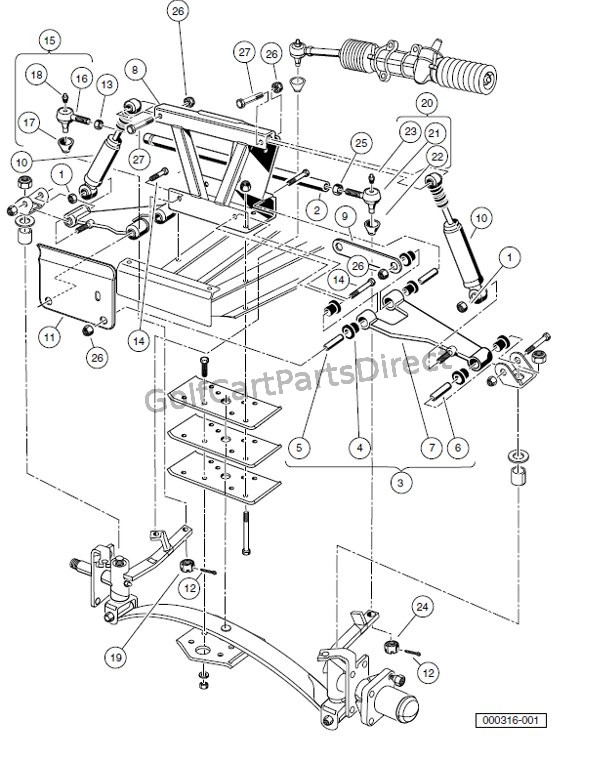2005 Yamaha Gas Golf Cart Wiring Diagram Front Suspension Upper Carryall 2 Plus And Turf Carryall