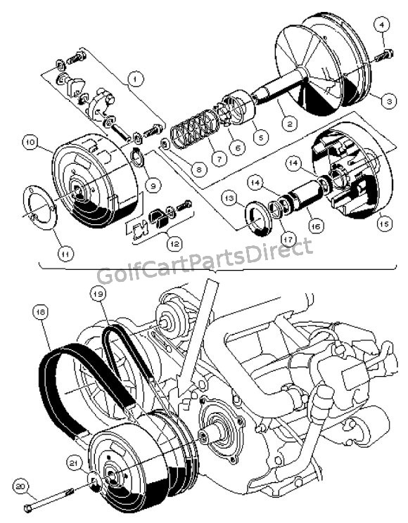 ezgo golf cart clutch diagrams