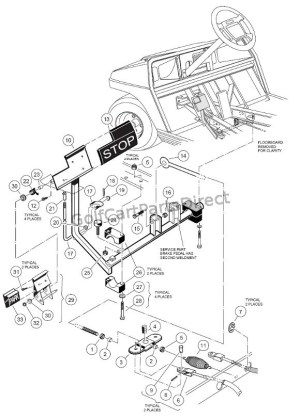Brake Pedal & Cable Assembly  Club Car parts & accessories