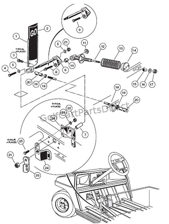 1990 Club Car Ds Wiring Diagram Schematic Accel Pedal Assy Gas Club Car Parts Amp Accessories