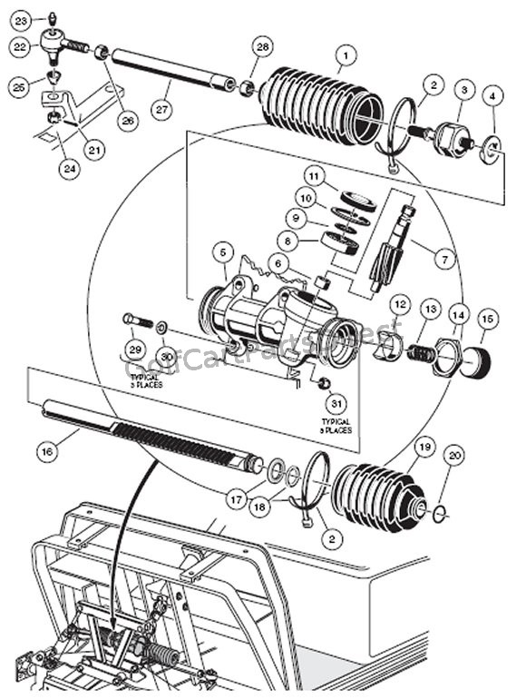 club car steering diagram