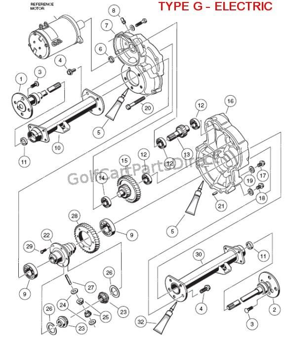 gas club car transaxle parts diagram