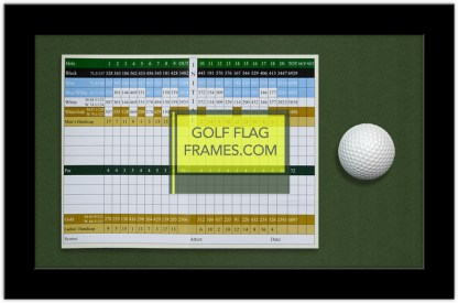 Here is the GolfFlagFrames.com 6x8 Scorecard and Golf Ball Frame with green mat
