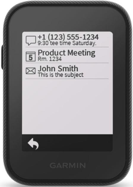 garmin approach g30 smartphone notifications