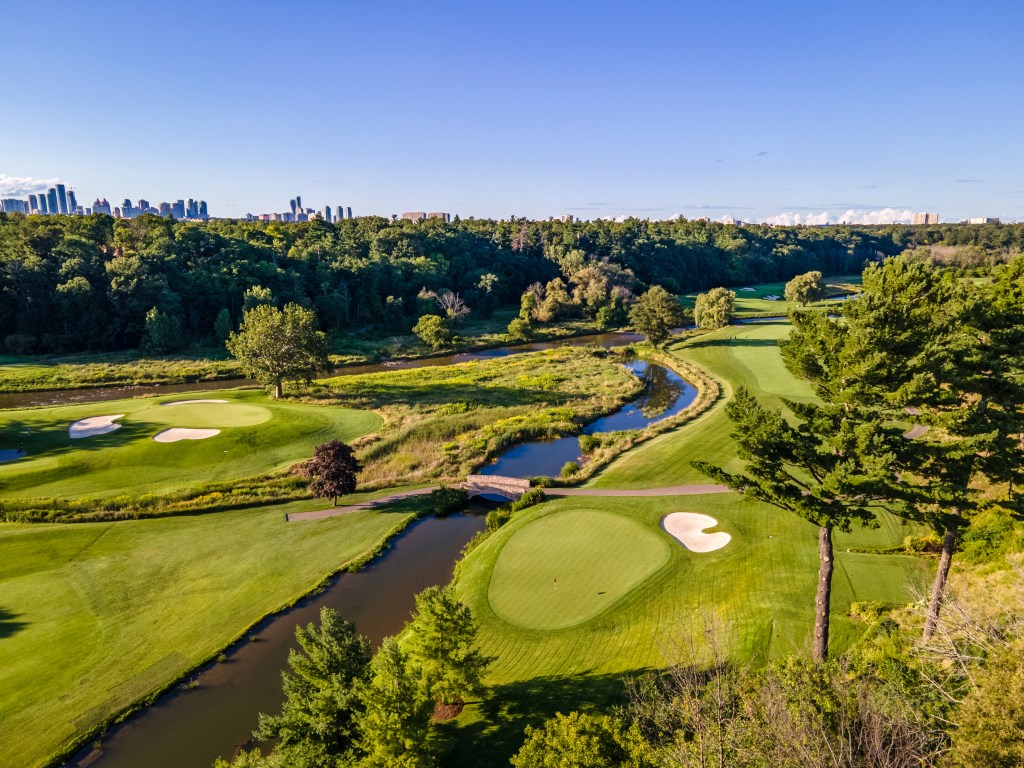 An aerial view of the Mississaugua Golf Course, by kind permission of Mississaugua Golf and Country Club