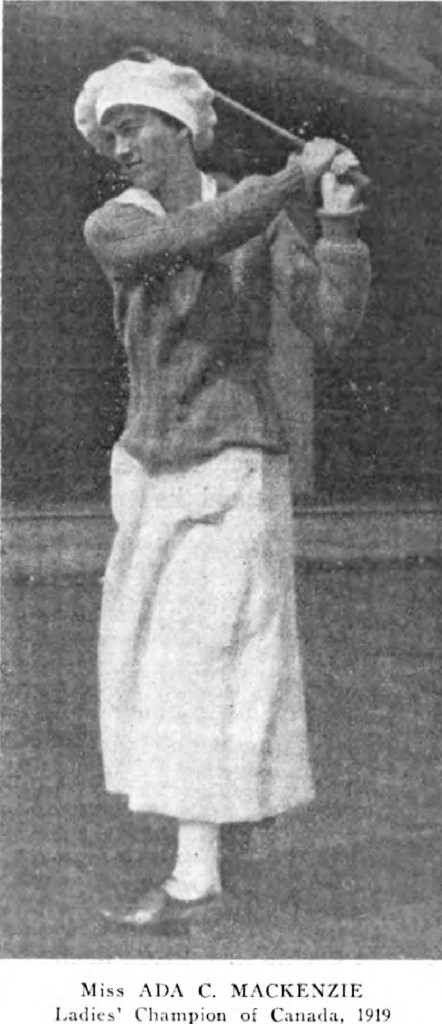 A Black & White Photograph of Ada Mackenzie during the 1919 Canadian Women's Amateur, kindly supplied by Margaret Mclaren