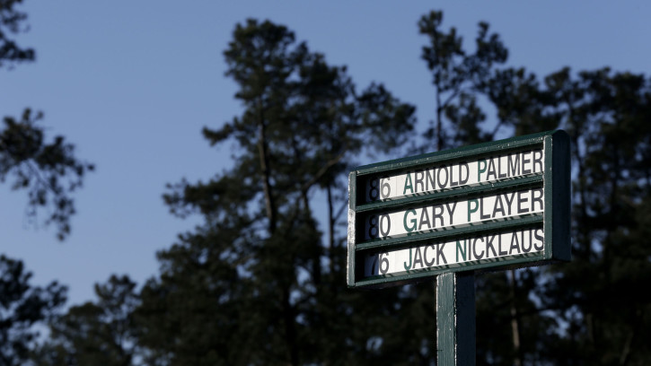 The names of the Honorary Starters, Masters champion Arnold Palmer, Masters champion Gary Player of South Africa and Masters champion Jack Nicklaus are seen on a standard on the No. 1 tee during Round 1 at Augusta National Golf Club on Thursday April 7, 2016.