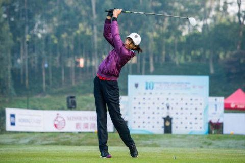 Diksha Dagar of India in action during day one of the 10th Faldo Series Asia Grand Final at Faldo course in Shenzhen, China.