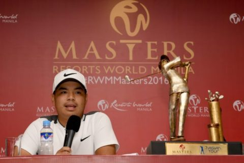Miguel Tabuena of Philippines during the Prees Conference of the Resorts World Manila Masters held at the Manila Southwoods Golf and Country Club.