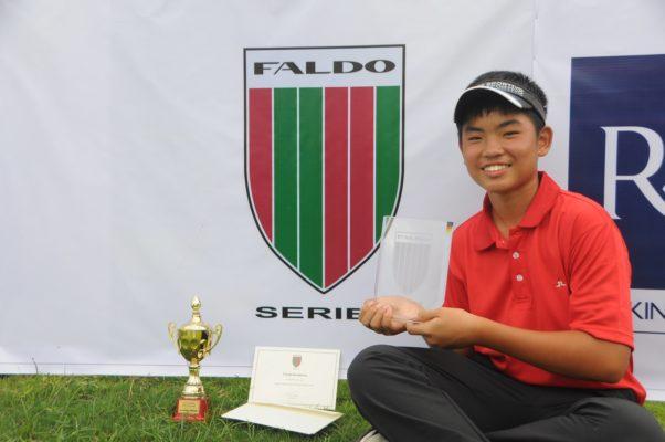 Kim Tae-soo celebrates his success in the opening leg of the 2017-18 Faldo Series Asia season.