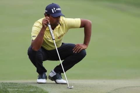 Feb 25, 2017; Palm Beach Gardens, FL, USA; Anirban Lahiri prepares to putt on the second hole during the third round of The Honda Classic at PGA National (Champion). Mandatory Credit: Jason Getz-USA TODAY Sports
