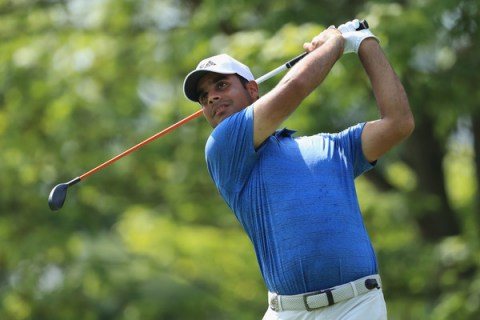 Shubhankar Sharma in the first round of the PGA Championship