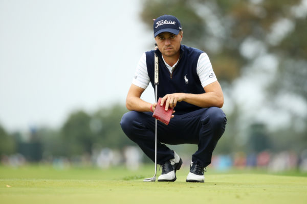 Justin Thomas of the United States lines up a putt on the third green during the third round of the BMW Championship at Aronimink Golf Club on September 8, 2018 in Newtown Square, Pennsylvania. (Photo by Gregory Shamus/Getty Images)