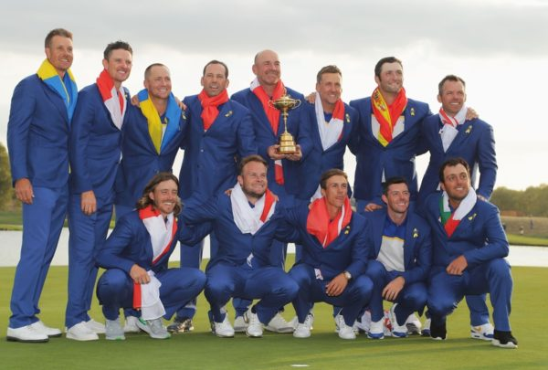 Captain Thomas Bjorn of Europe holds The Ryder Cup as Europe celebrate victory following the singles matches of the 2018 Ryder Cup at Le Golf National on September 30, 2018 in Paris, France. (Photo by Richard Heathcote/Getty Images)