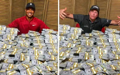 The ugly image of Tiger Woods and Phil Mickelson with the mountain of dollars