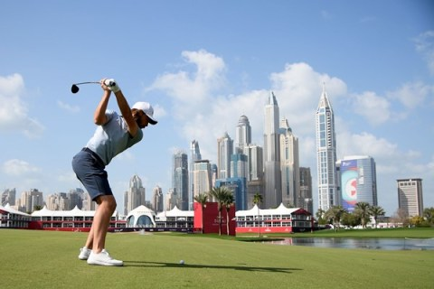 Tommy Fleetwood in filed at Omega Dubai Dessert Classic