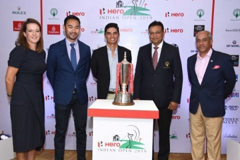 From LtoR- Vicky Jones, Championship Director, ET, Cho Minn Thant, COO, AT, Ajeetesh Sandhu,Devang Shah, Chairman, HIO2019, Vishal Bharti, VP-Operations, DLF Golf & Country Club